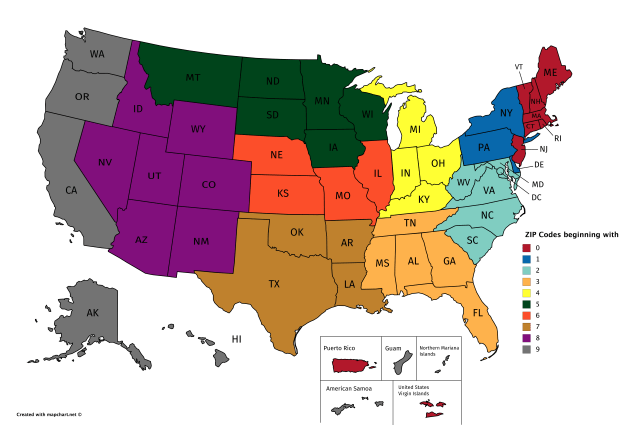 ZIP Code Prefixes In The United States